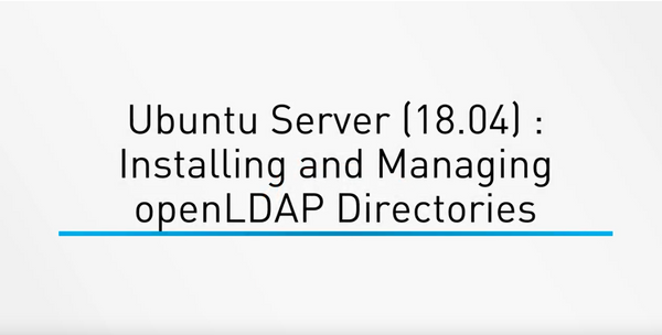 Ubuntu Server (18.04) : Installing And Managing OpenLDAP Directories