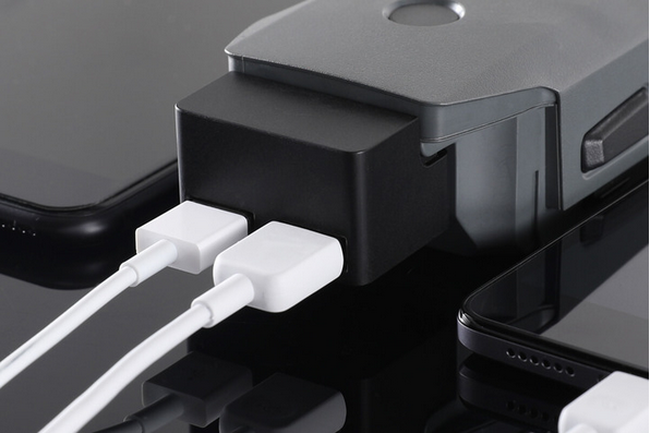 DJI Mavic Pro Battery to Power Bank shown plugged into battery and two USB cables