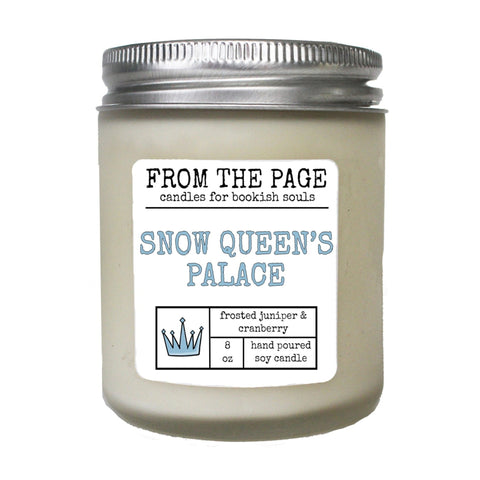 "white candle with label ""Snow Queen's Palace"""