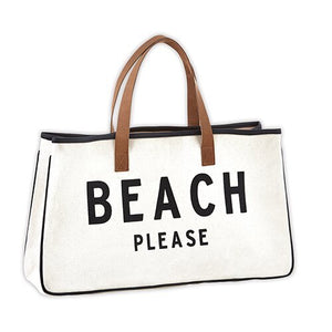 BEACH PLEASE CANVAS TOTE