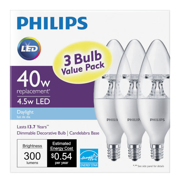 B11 Philips 4.5W Small Base Candelabra Daylight Indoor (6 Pack) image 20853124174