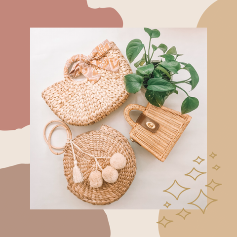 Straw bags, tropical leaves