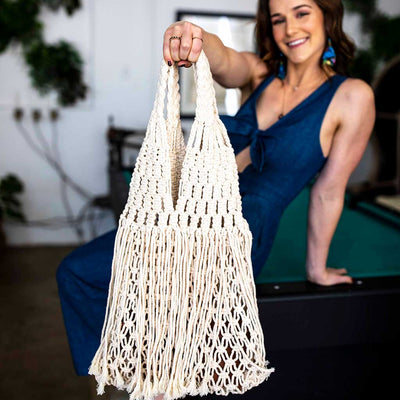 Macrame handle bag fair trade bohemian