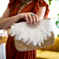 clutch strawbag fair trade bohemian white