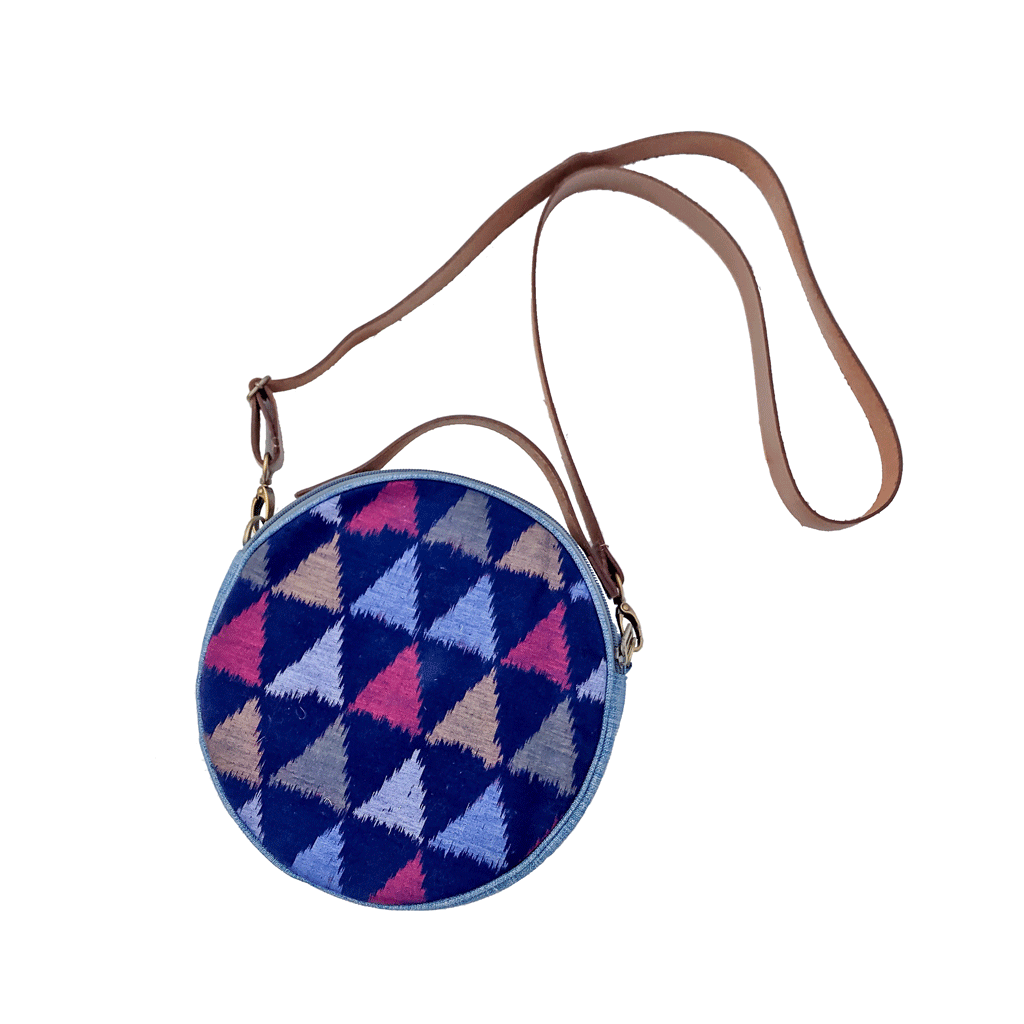 Round ikat crossbody bag fair trade bohemian blue