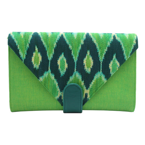 Esther Grace | Ikat Clutch | Green