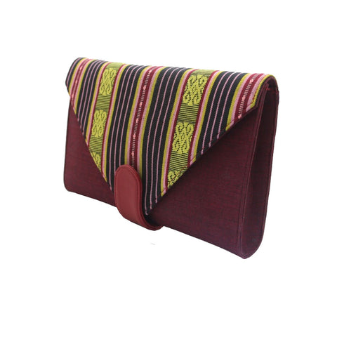 Esther Grace | Ikat Clutch | Burgundy