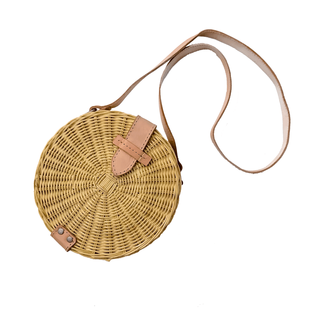 Circle strawbag crossbody bag fair trade bohemian rattan