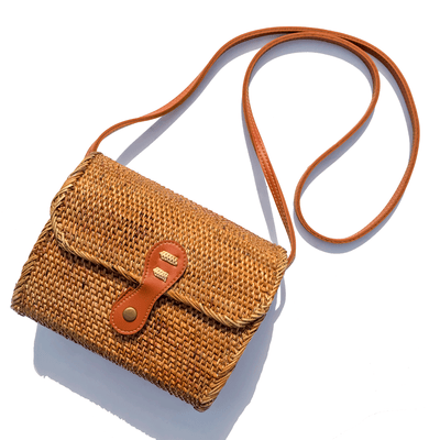Rectangle Straw bag crossbody bag fair trade bohemian