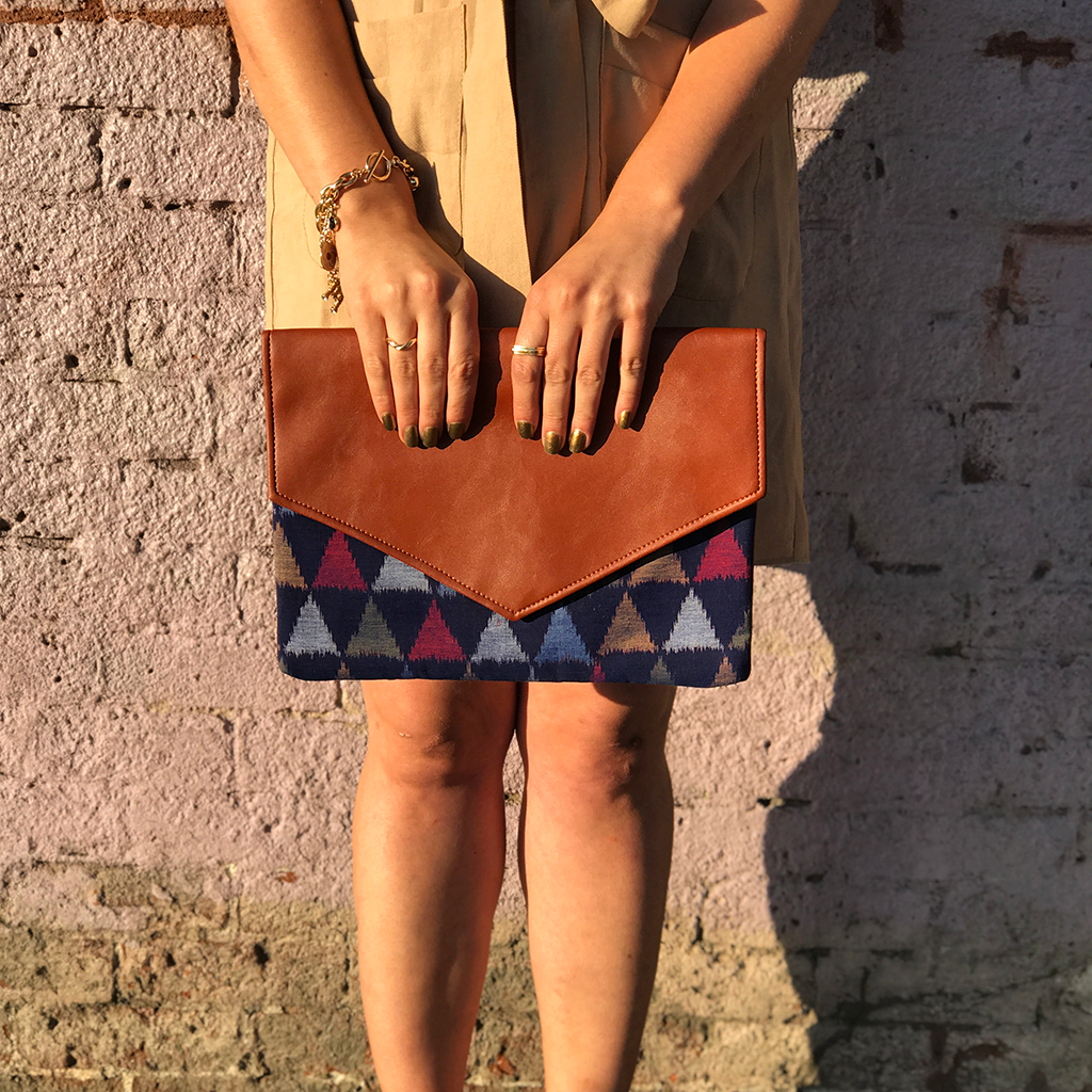 Blueberry Ikat Clutch