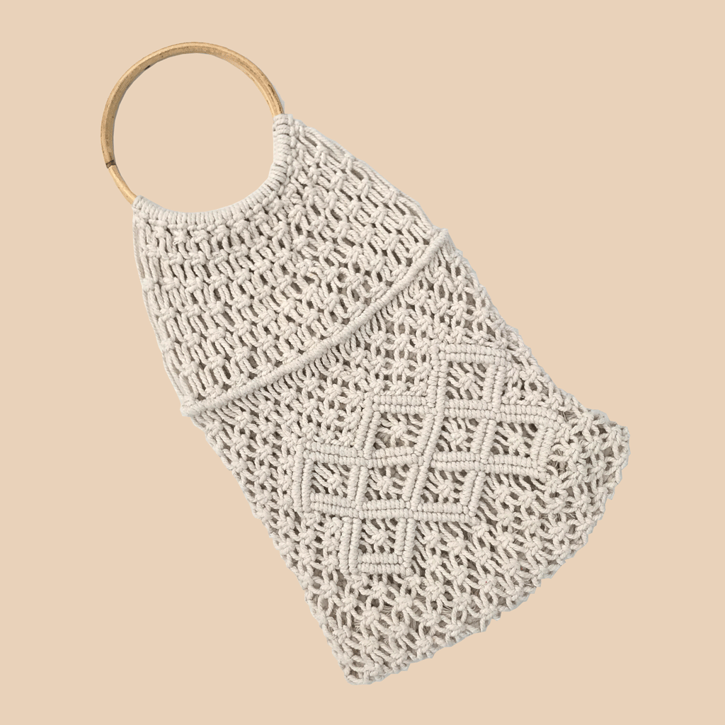 Macrame handle bag fair trade bohemian bamboo