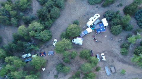 Drone shot of our Wylie Gulch campsite in the Wet Mountains CO