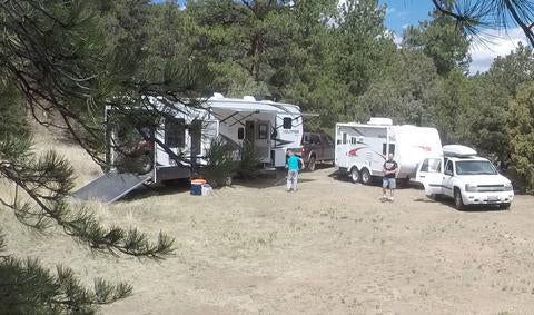 Setting up our campsite at Wylie Gulch CO