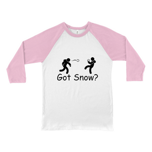 Got Snow? Snowball Fight! Novelty Baseball Tee (3/4 sleeves) - CampWildRide.com