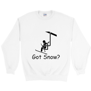 Got Snow? View from the Chair Lift! Novelty Sweatshirts Crewneck Pullover - CampWildRide.com