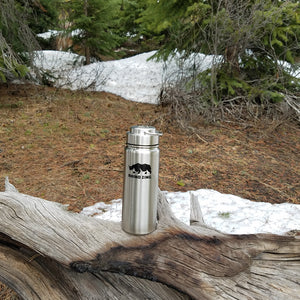 18 Oz Stainless Steel Water Bottle with Insulated Wide Mouth Stainless Steel Lid - CampWildRide.com