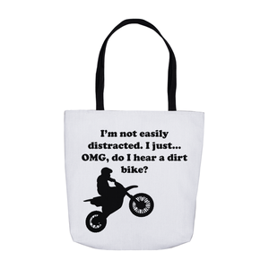 I'm not easily distracted-Dirt Bike! Novelty Funny Tote Bag Reusable - CampWildRide.com