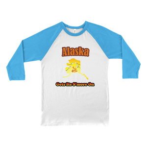 Alaska Gets Its S'more On! Novelty Baseball Tee (3/4 sleeves) - CampWildRide.com