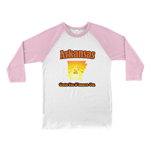 Arkansas Gets Its S'more On! Novelty Baseball Tee (3/4 sleeves)