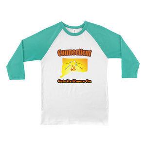 Connecticut Gets Its S'more On! Novelty Baseball Tee (3/4 sleeves)