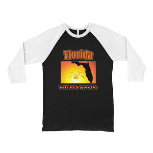Florida Gets Its S'more On! Novelty Baseball Tee (3/4 sleeves) - CampWildRide.com