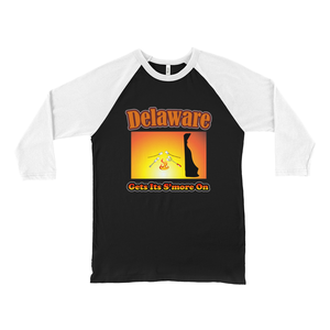 Delaware Gets Its S'more On! Novelty Baseball Tee (3/4 sleeves) - CampWildRide.com