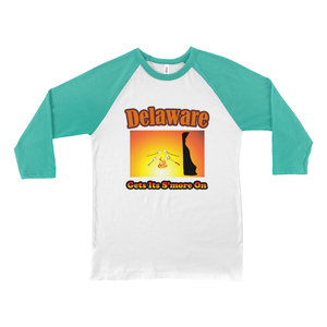 Delaware Gets Its S'more On! Novelty Baseball Tee (3/4 sleeves)