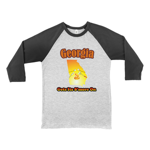 Georgia Gets Its S'more On! Novelty Baseball Tee (3/4 sleeves)