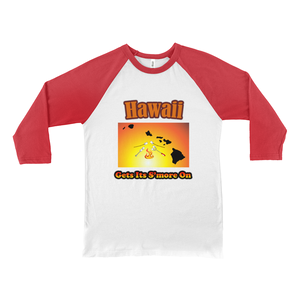 Hawaii Gets Its S'more On! Novelty Baseball Tee (3/4 sleeves)