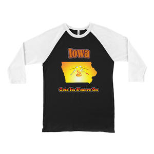 Iowa Gets Its S'more On! Novelty Baseball Tee (3/4 sleeves) - CampWildRide.com