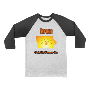 Iowa Gets Its S'more On! Novelty Baseball Tee (3/4 sleeves)