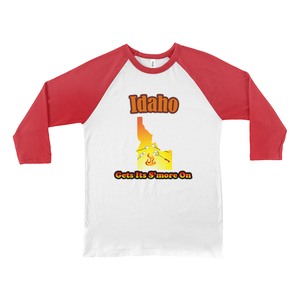 Idaho Gets Its S'more On! Novelty Baseball Tee (3/4 sleeves) - CampWildRide.com