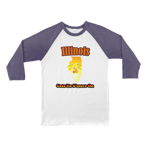 Illinois Gets Its S'more On! Novelty Baseball Tee (3/4 sleeves) - CampWildRide.com