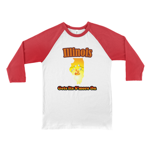 Illinois Gets Its S'more On! Novelty Baseball Tee (3/4 sleeves)
