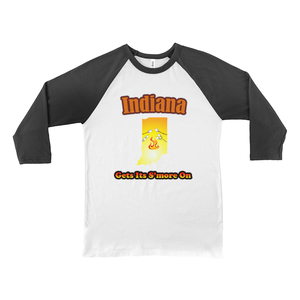 Indiana Gets Its S'more On! Novelty Baseball Tee (3/4 sleeves) - CampWildRide.com