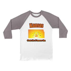 Kansas Gets Its S'more On! Novelty Baseball Tee (3/4 sleeves) - CampWildRide.com