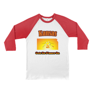 Kansas Gets Its S'more On! Novelty Baseball Tee (3/4 sleeves)