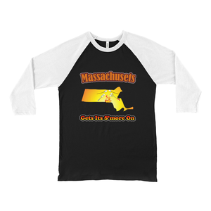 Massachusetts Gets Its S'more On! Novelty Baseball Tee (3/4 sleeves)