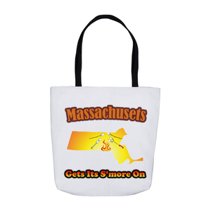 Massachusetts Gets Its S'more On! Novelty Funny Tote Bag Reusable - CampWildRide.com