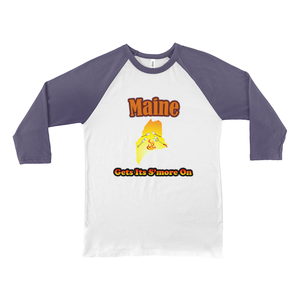 Maine Gets Its S'more On! Novelty Baseball Tee (3/4 sleeves)