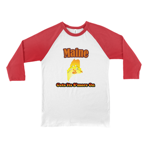Maine Gets Its S'more On! Novelty Baseball Tee (3/4 sleeves) - CampWildRide.com