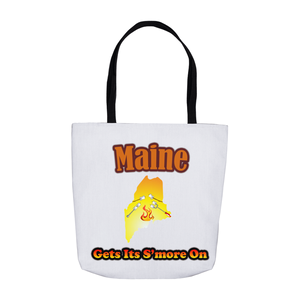 Maine Gets Its S'more On! Novelty Funny Tote Bag Reusable