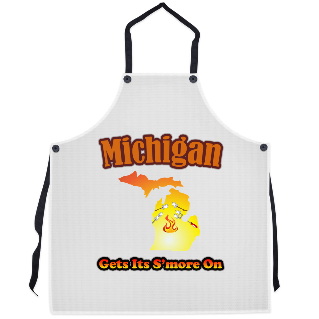 Michigan Gets Its S'more On! Novelty Funny Apron - CampWildRide.com
