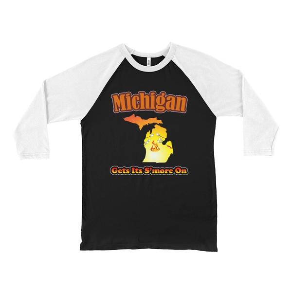 Michigan Gets Its S'more On! Novelty Baseball Tee (3/4 sleeves)