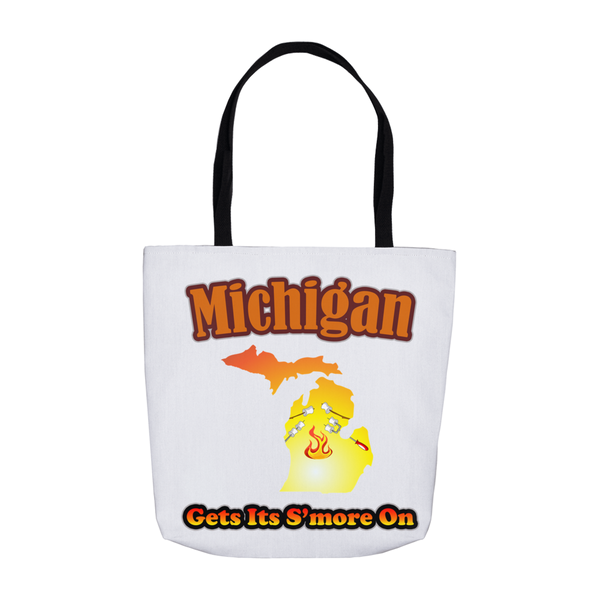 Michigan Gets Its S'more On! Novelty Funny Tote Bag Reusable