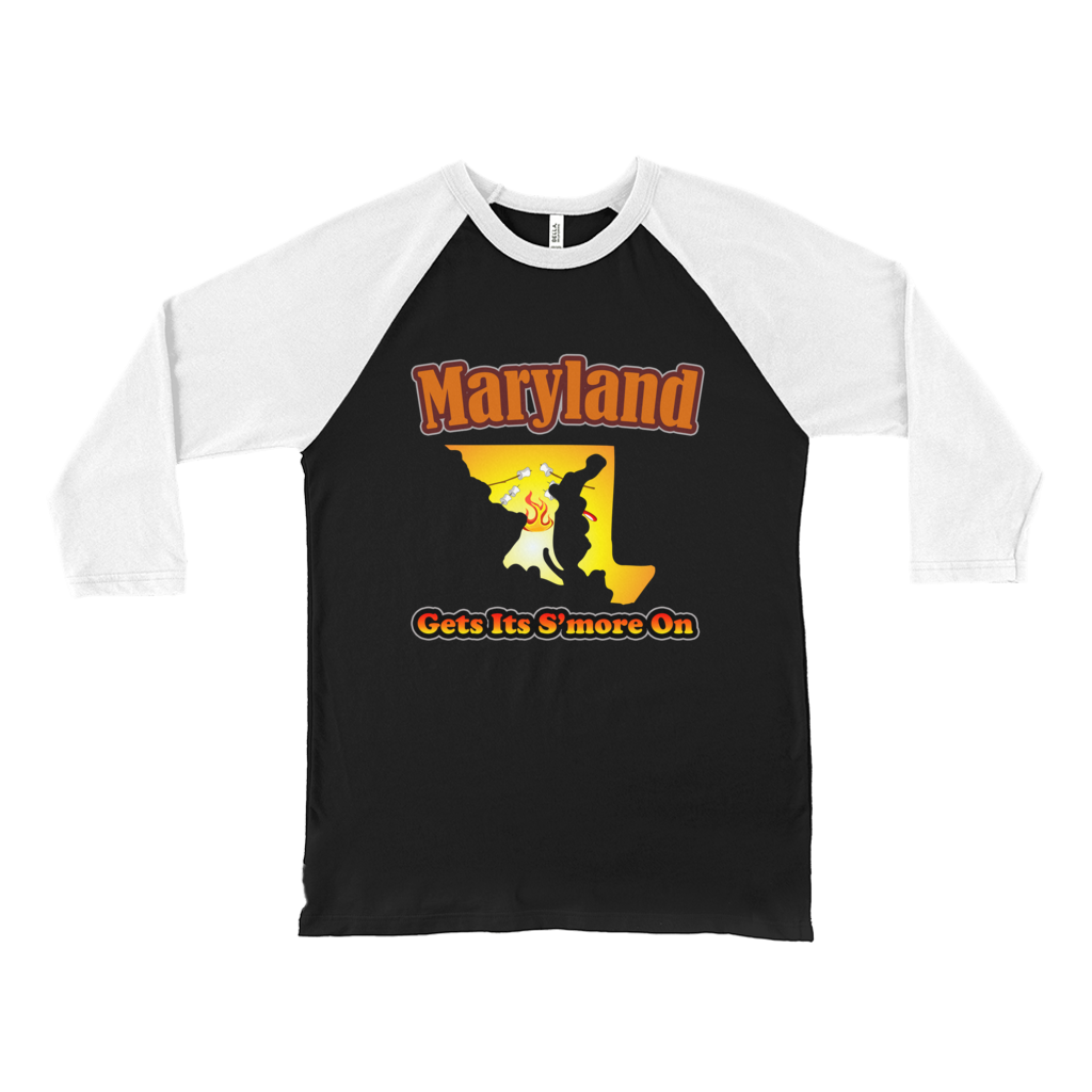 Maryland Gets Its S'more On! Novelty Baseball Tee (3/4 sleeves) - CampWildRide.com