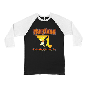 Maryland Gets Its S'more On! Novelty Baseball Tee (3/4 sleeves)
