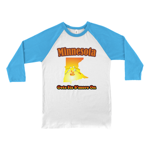Minnesota Gets Its S'more On! Novelty Baseball Tee (3/4 sleeves)