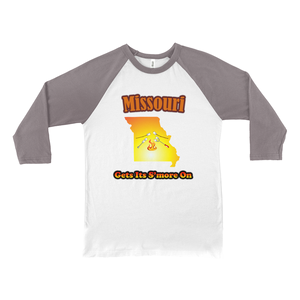 Missouri Gets Its S'more On! Novelty Baseball Tee (3/4 sleeves) - CampWildRide.com