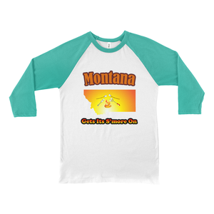 Montana Gets Its S'more On! Novelty Baseball Tee (3/4 sleeves) - CampWildRide.com